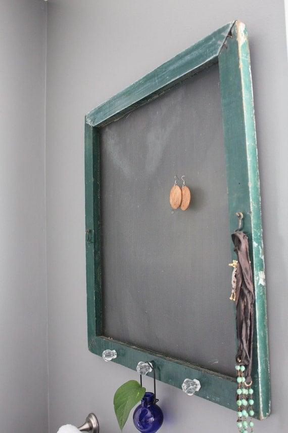 Green Vintage Repurposed Window Screen Jewelry Holder Home