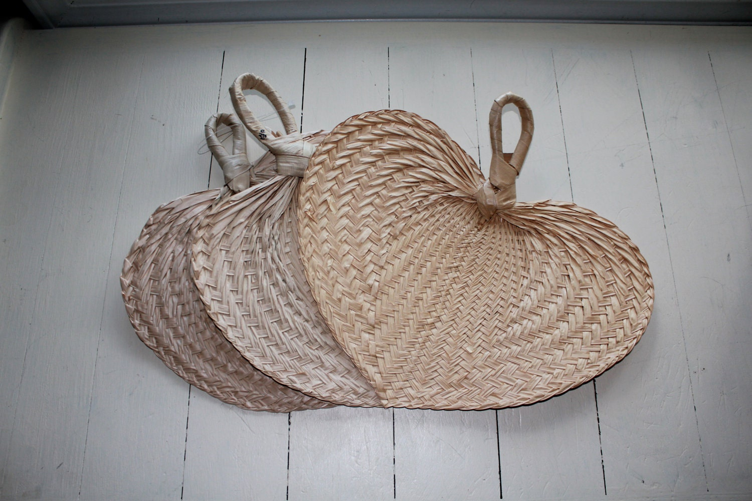 Wicker Hand Fans Set Of 3