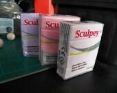 DESTASH -3 Sculpey Polymer clay blocks-  Pinks