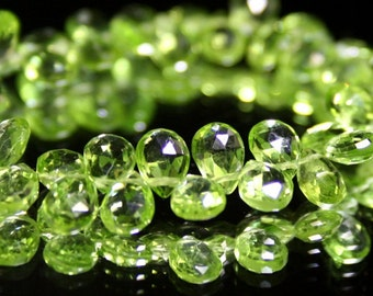 Peridot Faceted Pear Briolettes 4 Parrot Kiwi Green 7 - 7.5 MM Semi Precious Gemstones August Birthstone