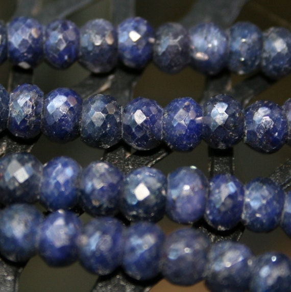 AAA Large Blue Sapphire faceted rondelles set of 6
