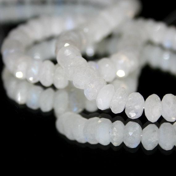 Rainbow Moonstone faceted large rondelles, set of 10 AAA Milky White Blue Flash Semi Precious Gemstones