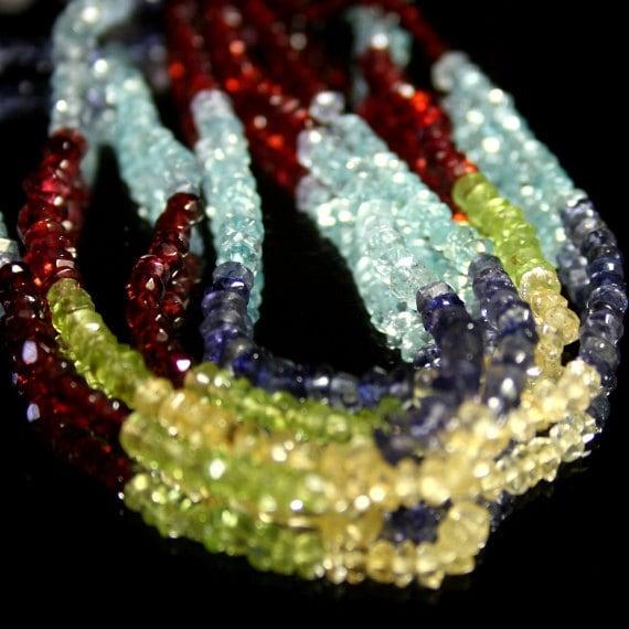 Multi Gemstone Micro Faceted Rondelles, 1/2 strand of Blue Red Green Yellow Semi Precious Gemstones