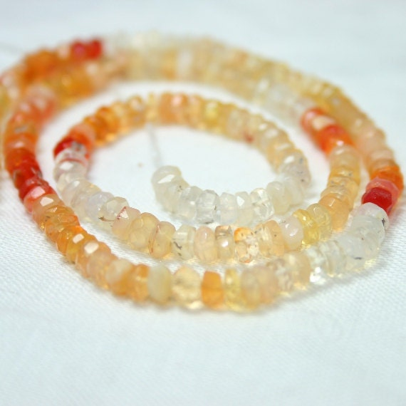 Mexican Fire Opal Faceted Rondelles, set of 15 AA Red Orange Opal White Cream Semi Precious Gemstone