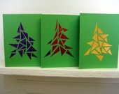 Geometric Triangle/Christmas Stained Glass Window Card