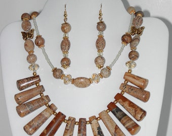 Natural  Picture Jasper  gemstone  necklace and earrings set (# 121, 122)