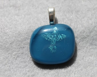 Fused glass dicro hummingbird pendant