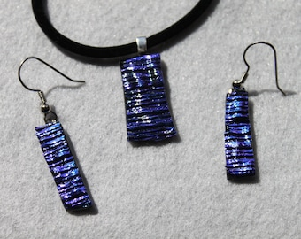 Blue dicro necklace and earring set