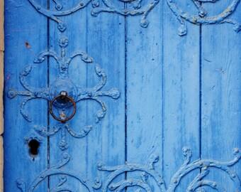 Ornate Blue Wood Door, Fine Art Photography Print, Metal Embellishments, Manchester, Enchanted Door, Shabby Chic,Powder Blue Decor, Wall Art