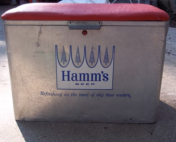 Vintage Hamms beer cooler with red padded seat. 1960 Brewriana