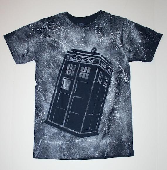 Boys Navy Blue Doctor Who Tardis Short Sleeve Shirt Size XL 14/16