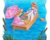 La Ratita y Raton' sail away  original children's book illustration