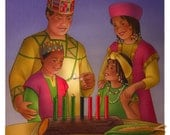 African American family celebrates Kwanzaa original children's book illustration