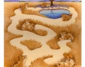 Lion Cub Maze original ilustration