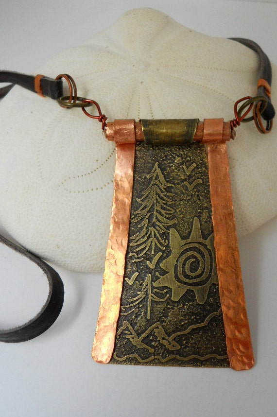 Artisan Handcrafted Copper & Brass Woodland Pendant Necklace