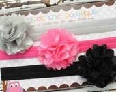 Set of three satin mesh flower headbands- Gray, bright pink and black