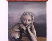 Signed Original Oil Painting Topless Woman Recycled Wood