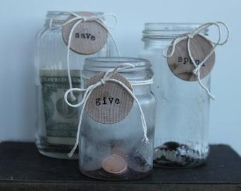 """Vintage glass food jars used as """"Pig bank"""""""