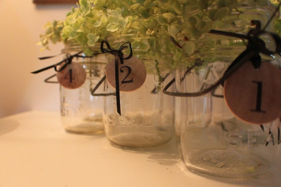 Set of 5 Ball canning jars to use as vases in your reception