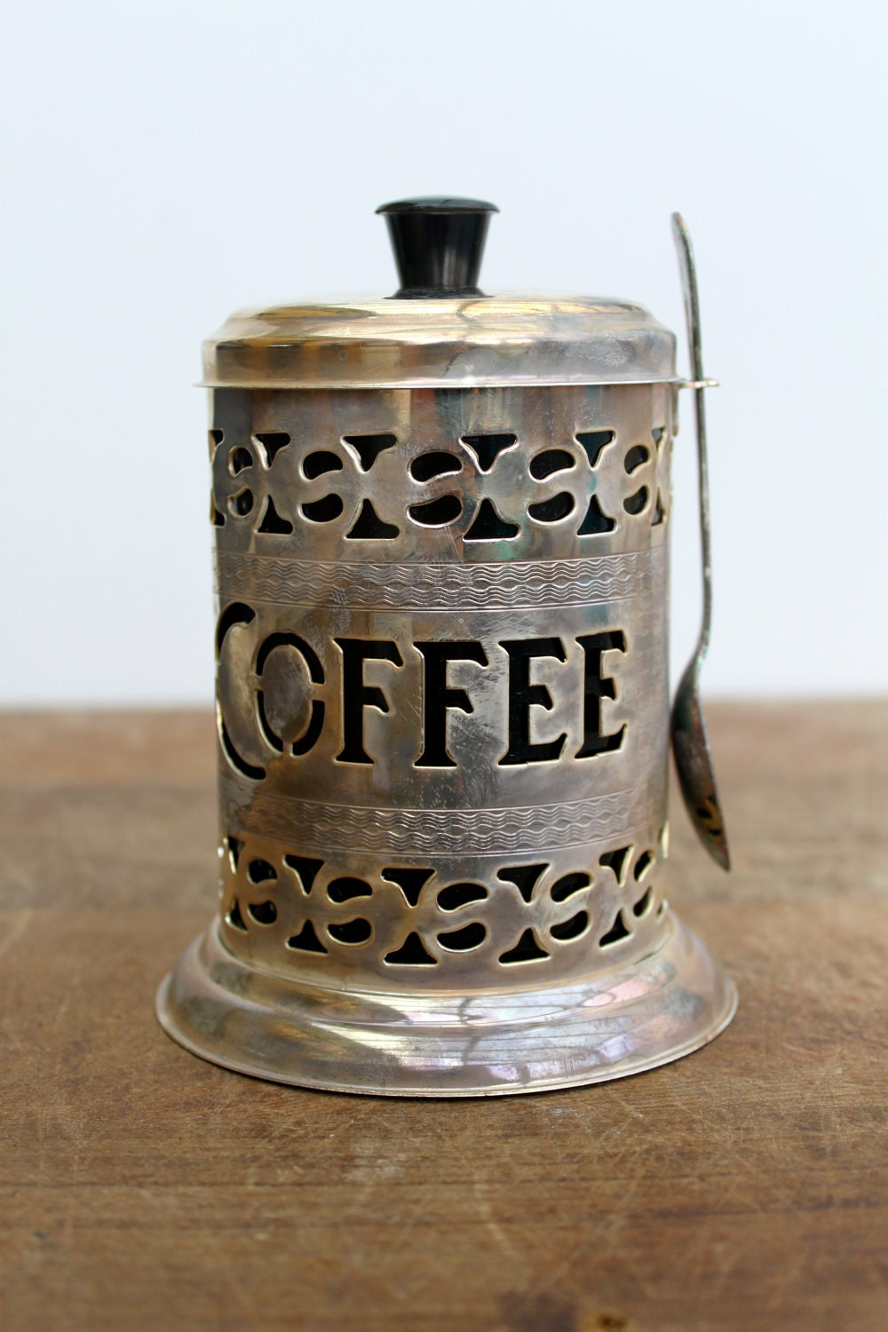Vintage English Silver Plate Pierced Coffee Canister