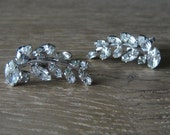 Vintage 1950s JAY FLEX STERLING Clear Rhinestone Leaf Shaped Clip On Earrings Set in Silver