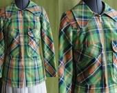 Vintage 1960s Green Orange and Blue Plaid Spring Jacket Size Small Medium