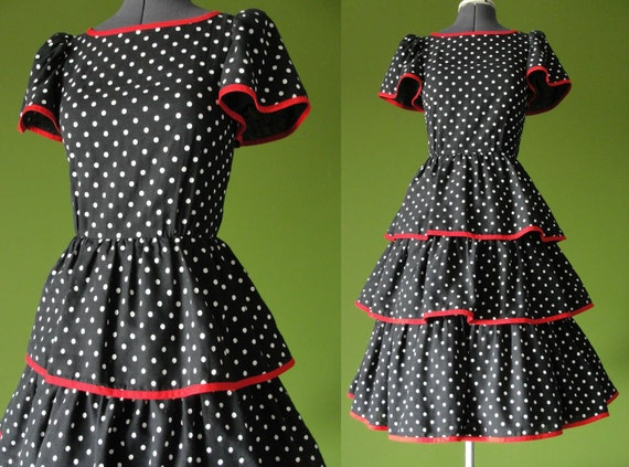 Vintage 1950s Black with White Polka Dots and Red Trim Rockabilly Pin Up Layered Skirt Dress Size 6 to 8 Small Medium