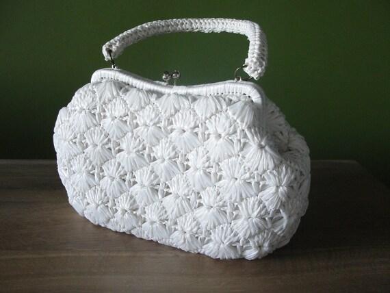 Vintage 1960s White Raffia Woven Handbag