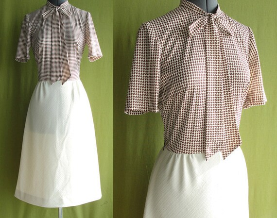 Vintage 1960s Brown and Cream Houndstooth Secretary Day Dress with Bow Neck Size 8 to 10 Medium