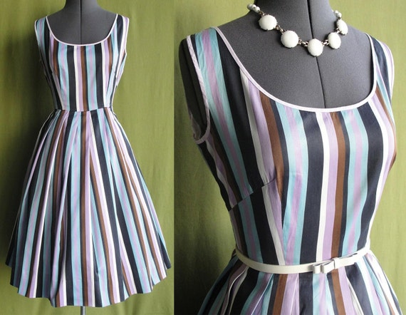 Vintage 1950s 60s Light Purple Blue White Brown Black Vertical Striped Day Dress with Swing Circle Skirt Size 8 to 10 Medium