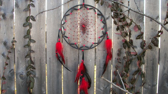 Dream catcher Large Red and Black with Carnelian gemstone and Swan feathers