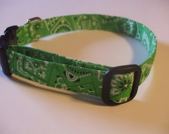 Handmade Cotton Dog Collar Lime Green Bandana Print -- sizes up to M/L only