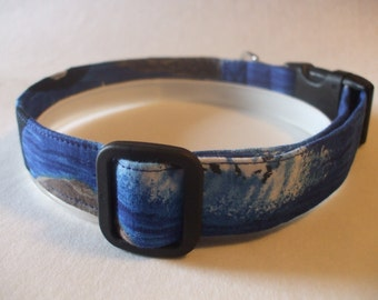 Handmade Cotton Dog Collar Waves and  Whales
