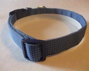 Handmade Cotton Dog Collar Blue Gingham Checks