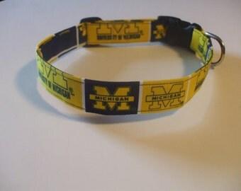 Handmade Cotton Dog Collar University of Michigan