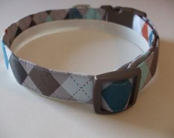 Handmade Cotton Dog Collar Gray Argyle