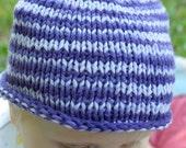 Handknit Striped Purple Baby Hat