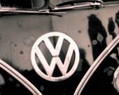 Photo 70's  Black Volkswagen Van Retro 10x6.6