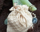 Jewelry Drawstring Pouch - Lacy Crochet