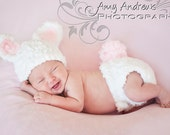 Crochet Bunny Hat and Diaper Cover Set