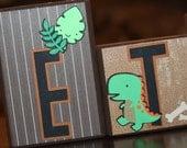 Custom Wooden Name Block Set - Ethan - Dinoland