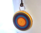 Retro Quilled Paper  Coil Pendant  by Rocio Toscano - Handmade Jewelry - Free Shipping USA