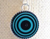 Paper Eco Friendly -  Blue And Black  Retro Quilled Paper  Coil Pendant  by Rocio Toscano - Handmade Jewelry - Free Shipping USA