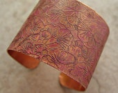 """Etched Copper Bracelet Cuff, Gingko Leaves, 2"""" wide"""