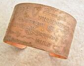 "Etched Copper Bracelet Cuff Friend Courage, 1.5"""