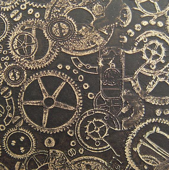 Etched Brass Sheet, Steampunk Black Matte Patina, 4x3 inches, 24g