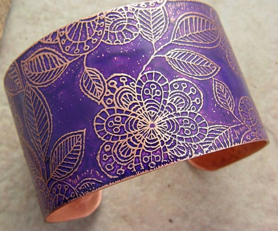 "Etched Copper  Cuff Bracelet Deep Purple Sketched Flowers, 1.5"" Wide"