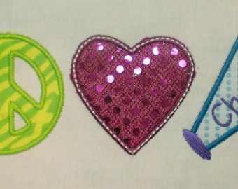 Peace Love and Cheer Embroidery Design Applique