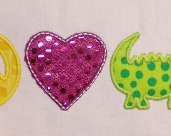 Peace, Love and Gators Embroidery Design Applique
