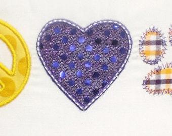 Peace Love Tiger Paw Embroidery Design Machine Applique